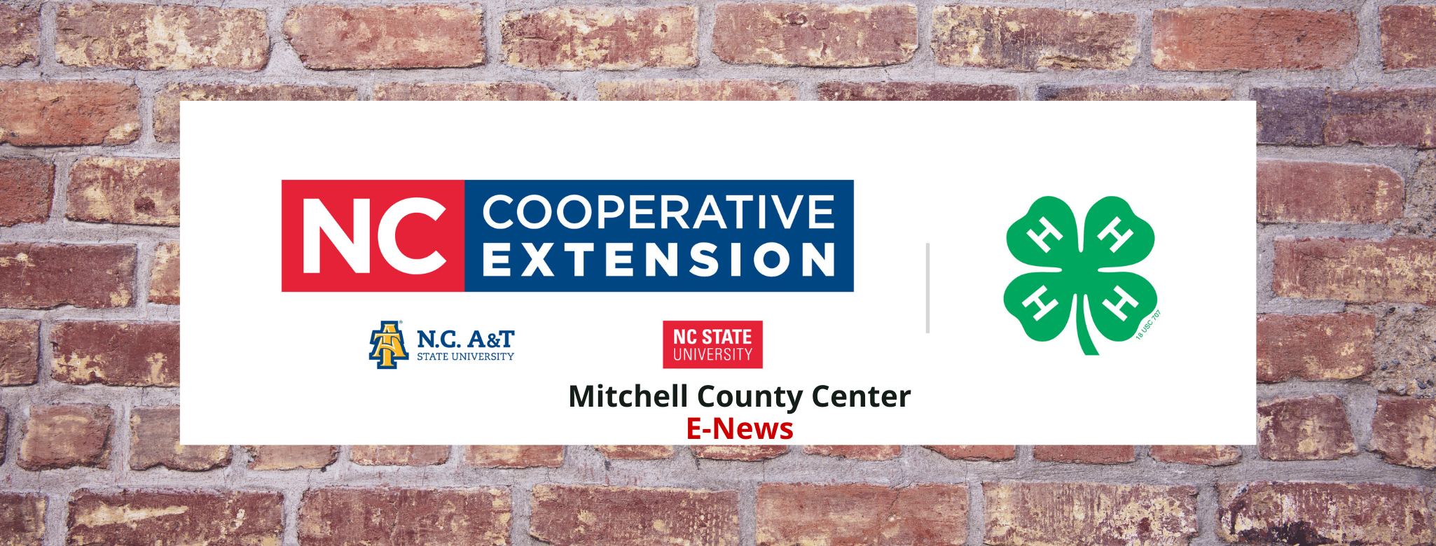N.C. Cooperative Extension Logo with Mitchell County E-News on it and a brick background