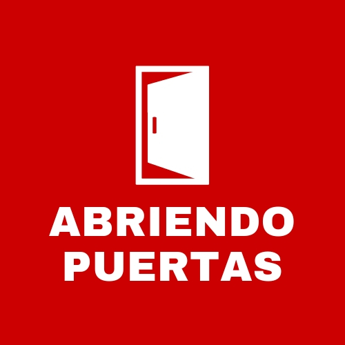 Red clickable square with the words ABRIENDO PUERTAS on it