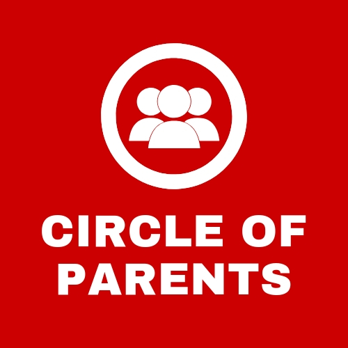 Red circle of parents button