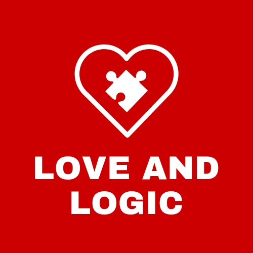 Red Square with puzzle piece inside a heart with text that says love and logic
