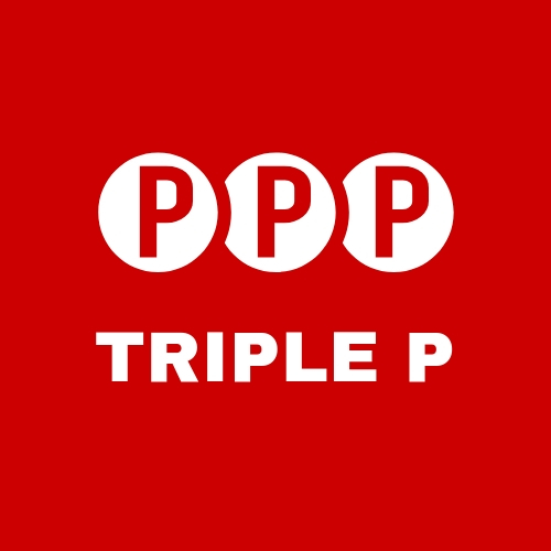 Red square with 3 p's inside on circles with Triple P text