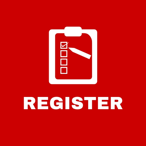 Red clickable square that says register with a clipboard