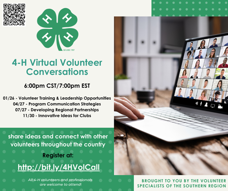 Flyer for 4-H Volunteer Conversations