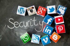 Security with blocks representing online dangers
